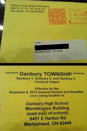 """Ohio County Mailer Sends Wrong Voting Location And Date To 2300 People...2,300 voters in the northern Ohio county received the notice informing them the election was November 8 and that their precinct was relocated to a different building. The Deputy Director called it a """"costly mistake,"""" and said they were reissuing the mailer with the correct information. President Obama won Ottawa County in 2008 with 52 percent of the vote."""