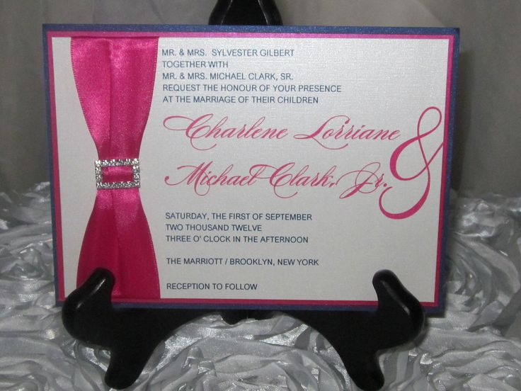 Hot Pink Navy Blue Wedding Invitation And