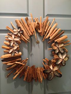 Driftwood and Seashell Wreath with link to preserving driftwood.
