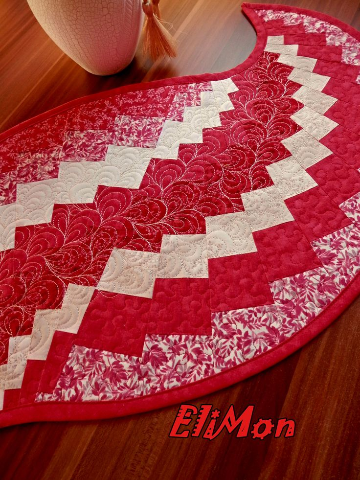 Bargello runner table red color