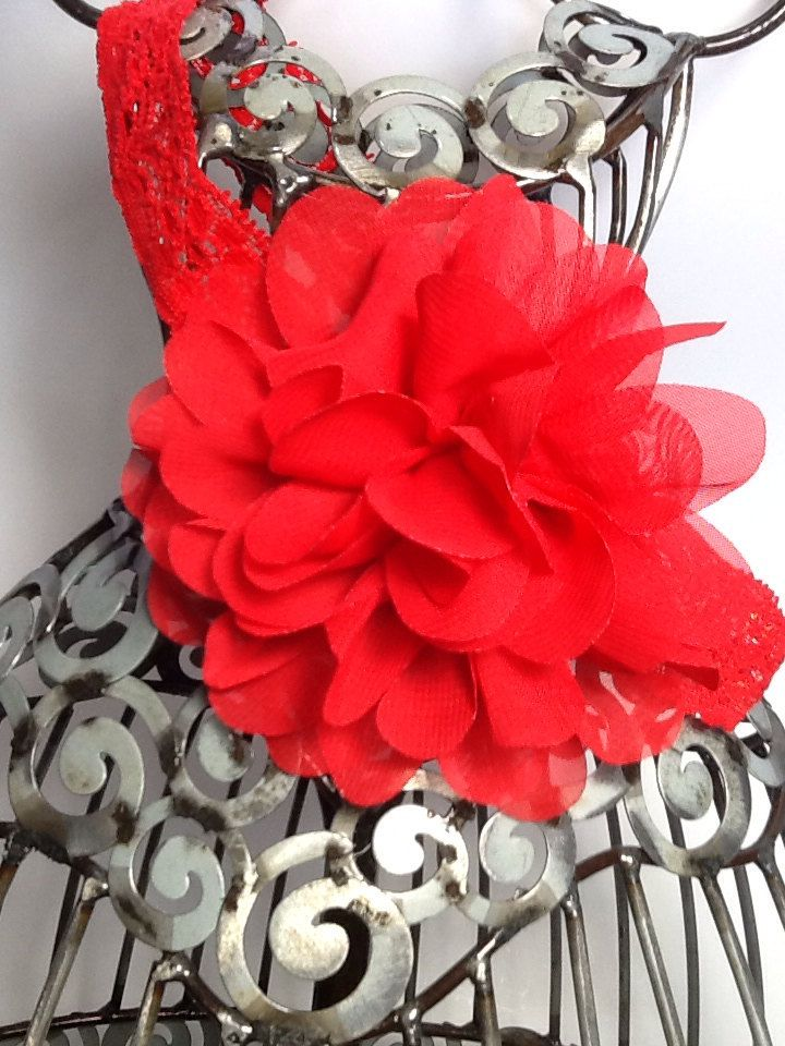 Red headband, red chiffon flower, fancy flower headband hair accessory,red  girls headband, red baby headband, flower headband accessory by VittysPretties on Etsy