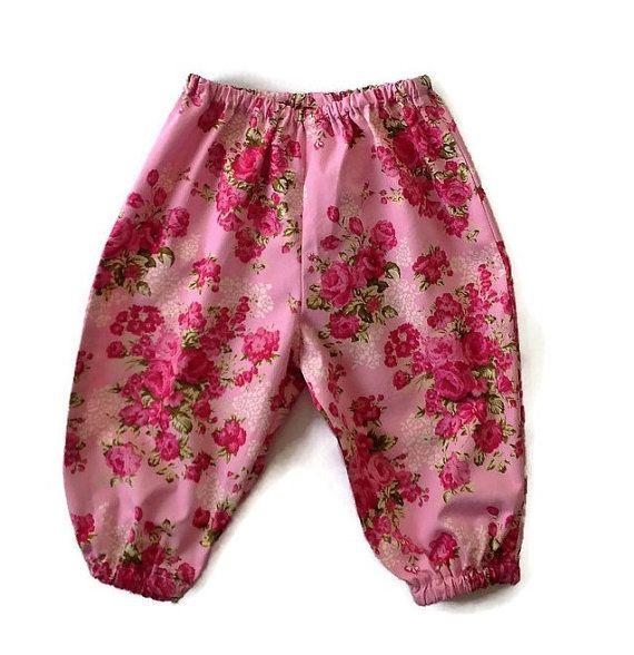 PINK FLORAL HAREMS baby girls cotton harem by TwoBlackRabbits