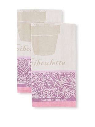 50% OFF Garnier-Thiebaut Set of 2 Ciboulette Violette Kitchen Towels
