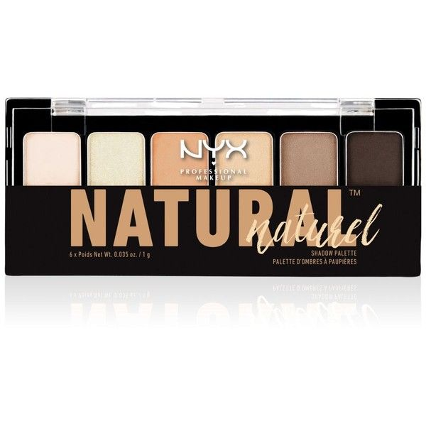 Nyx Professional Makeup Natural Shadow Palette ($7.50) ❤ liked on Polyvore featuring beauty products, makeup, eye makeup, eyeshadow, no color, nyx, palette eyeshadow, nyx eyeshadow and nyx eye shadow
