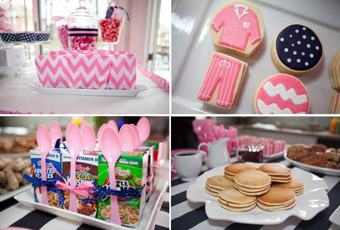 Pajama Party: How adorable would a pajama party for your little girl and her friends be? Whether for a birthday or a random fun celebration, pile up the pancakes, bring out the colorful cereal, and cook up some bacon and eggs.