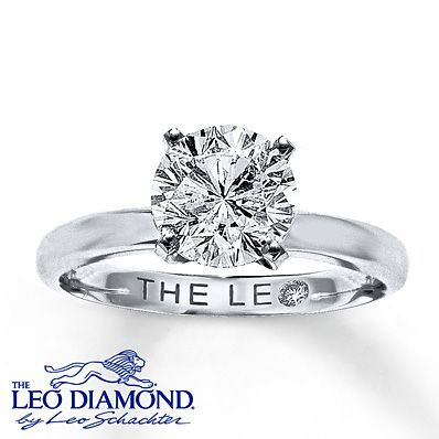 Leo Diamond Artisan Ring 2 Carat Diamond 14K White Gold