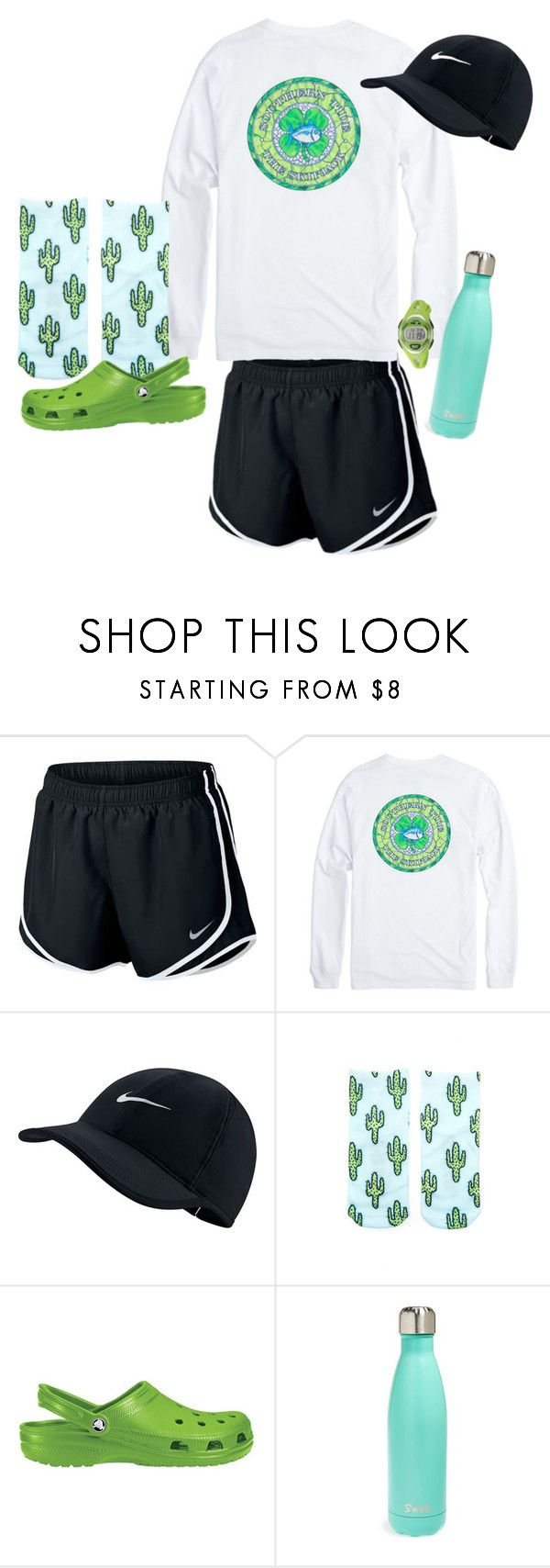 School Outfit by sunbirdx on Polyvore featuring NIKE, Living Royal, Crocs, Timex and S'well