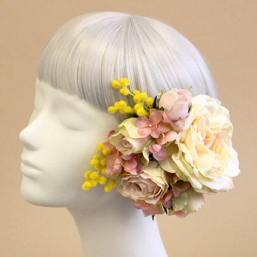 ヘッドドレス・髪飾り/ミモザとローズのヘアピックセット(ピンク) - ウェディングヘッドドレスと花髪飾り|airaka