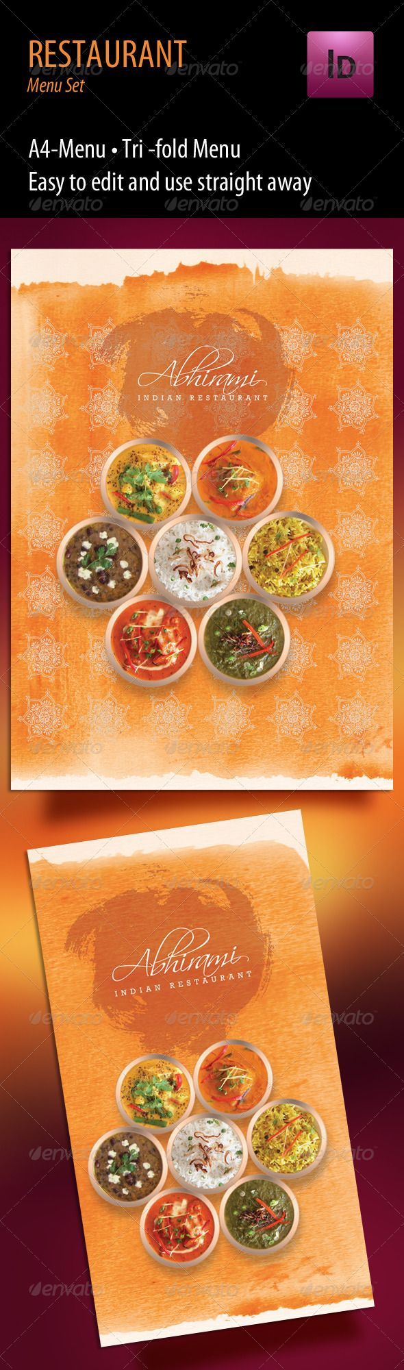 Indian Restaurant Menu set - A4 & Trifold - Food Menus Print Templates Download here : http://graphicriver.net/item/indian-restaurant-menu-set-a4-trifold/712154?s_rank=1494&ref=Al-fatih
