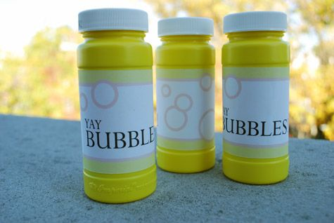 Printable free bubble labels for party favors by Kathy Beymer at Merriment Design