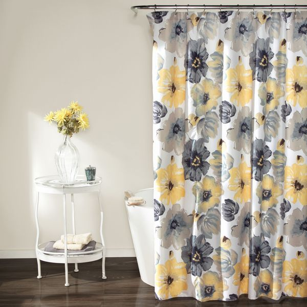 Add cheerful color and happiness to your bathroom decor with the Lush Decor Shower Curtain. Featuring eye-popping yellow and grey flowers, this shower curtain is simple yet fun. Material: Polyester Pa