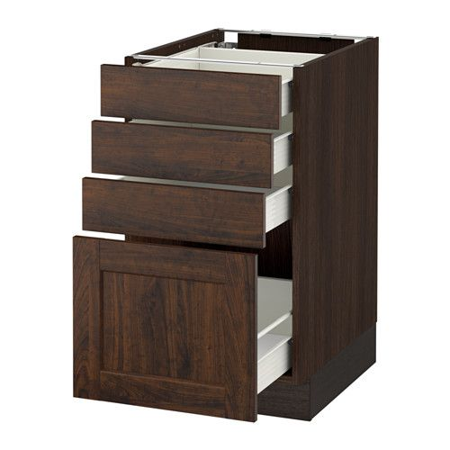 Ikea sektion base cabinet with 4 drawers wood effect for Wood effect kitchen cupboards