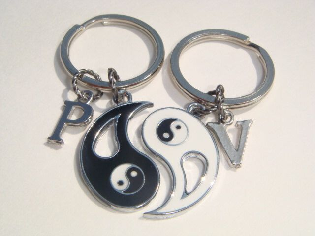Ying Yang Personalised Keyrings - Best Friends Keychains - Personalized Bag Charms - His & Hers Jewelry - Love Keyring Set - Couples Set by BellaAniela on Etsy https://www.etsy.com/listing/237738429/ying-yang-personalised-keyrings-best