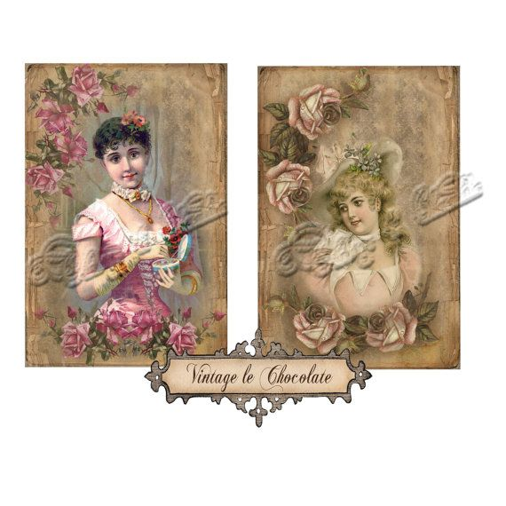 Instant Digital Victorian Paper Shabby by VintageLeChocolate