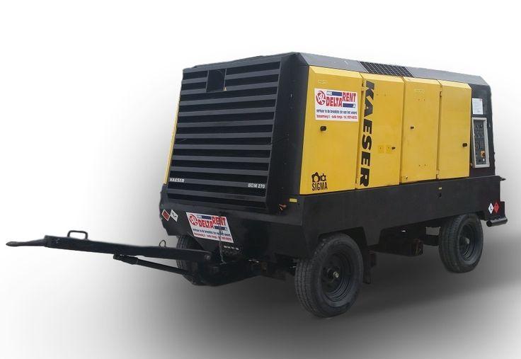 Compressor diesel 27 m³/min mobiel - DeltaRent Compressor Kaeser M270  -Werkdruk bar: 7 -Nominaal motorvermogen kW: 260 -Brandstof: diesel -Inhoud brandstoftank liter: 560 -Persaansluitingen: 2''camlock en 2x ¾ klauwkoppeling -Met Nakoeler