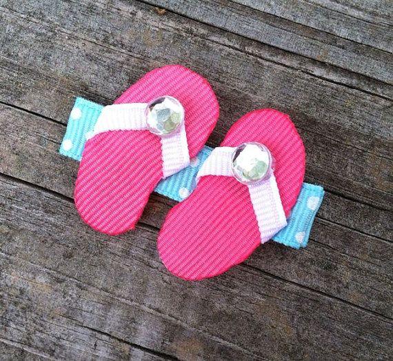Hot Pink Flip Flop Ribbon Sculpture Hair Clip - Toddler Hair Clips - Summer Hair Bows.. Free Shipping Promo
