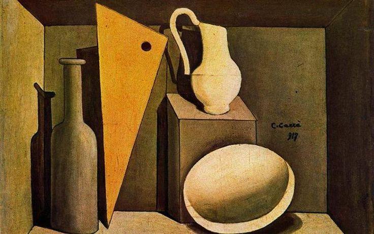 Natura morta con la squadra, 1917 by Carlo Carra. Metaphysical art. still life