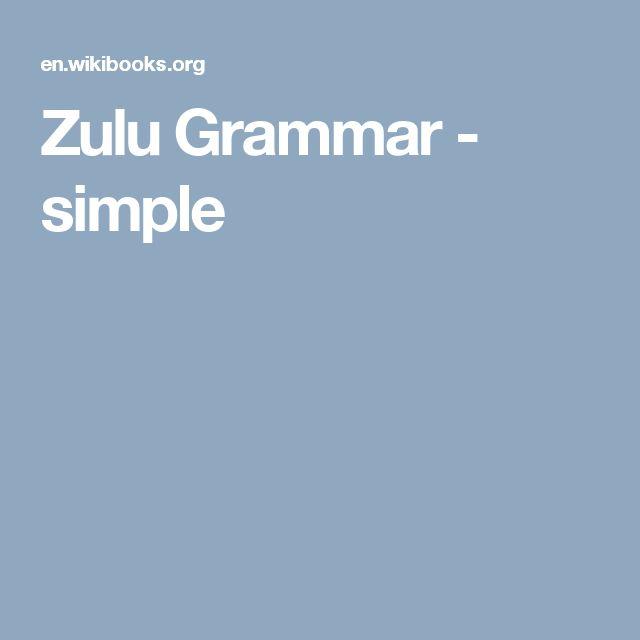 Zulu Grammar - simple