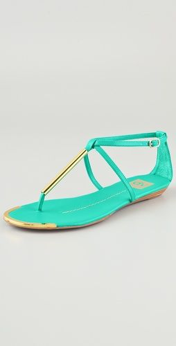 Dolce Vita DV Archer Flat Sandals Mint & Gold