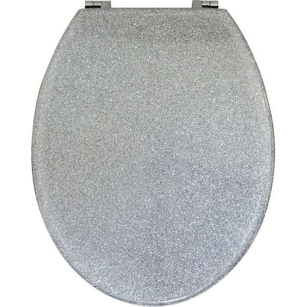 Silver Glitter Toilet Seat (Std Round)