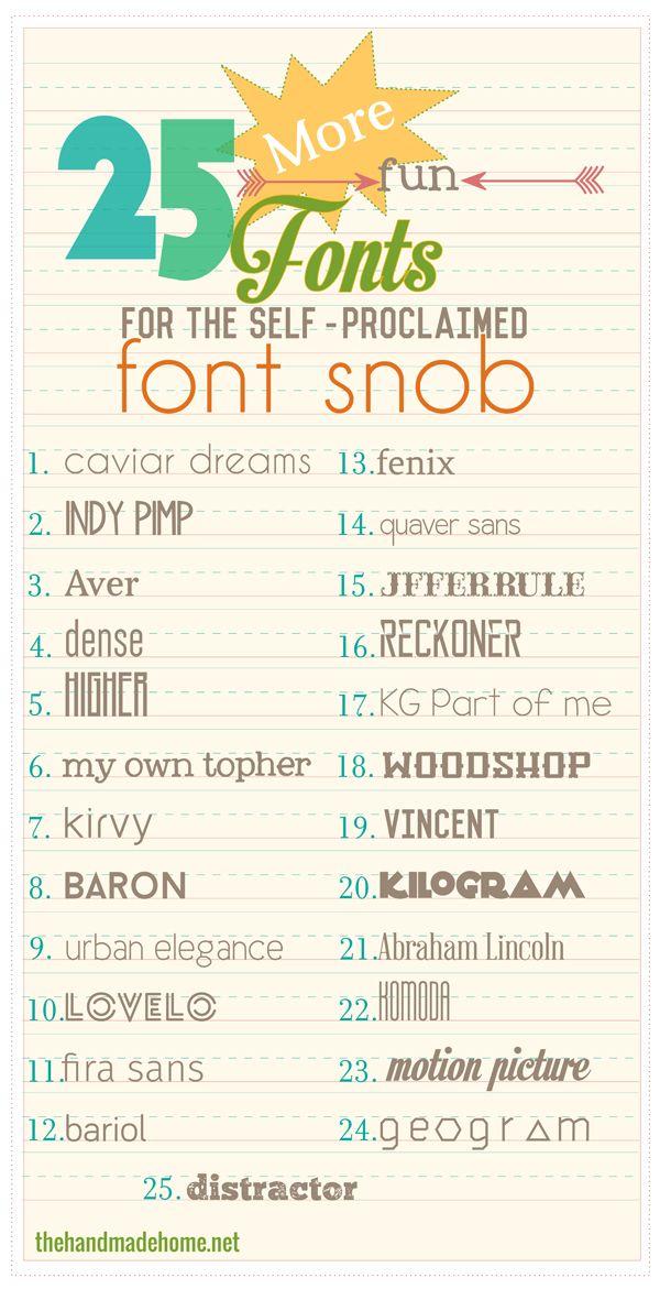 the font snob club: 25 more free fonts