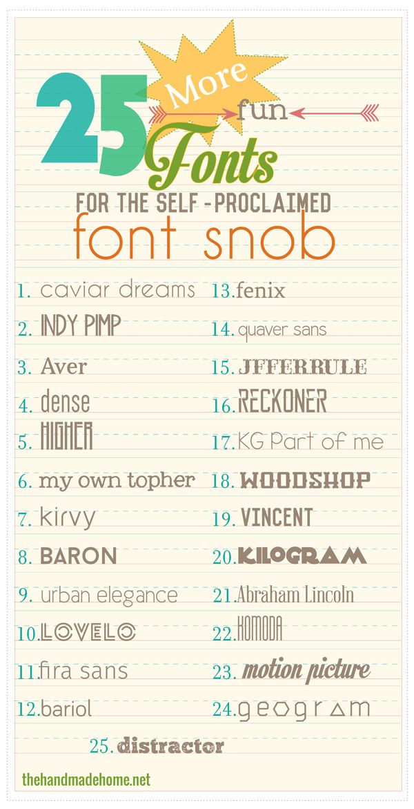 the font snob club: 25 more free fonts