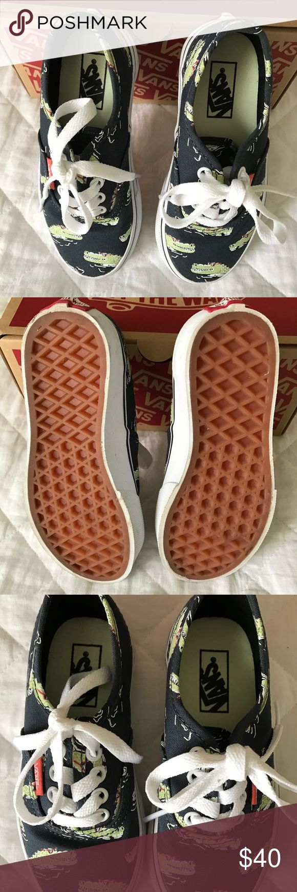 Vans Glow in the Dark Crocodile sneakers size 11 New! Vans Off the Wall - Glow in the Dark Crocodile/Alligator sneakers, youth size 11. Dark blue with glow in the dark crocodiles/alligators. Come from smoke and pet free home. Vans Shoes Sneakers