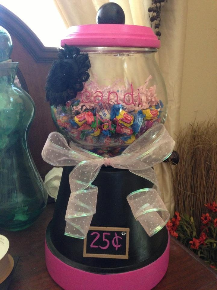 My do it yourself candy machine out of flower pot saucer and a fish bowl