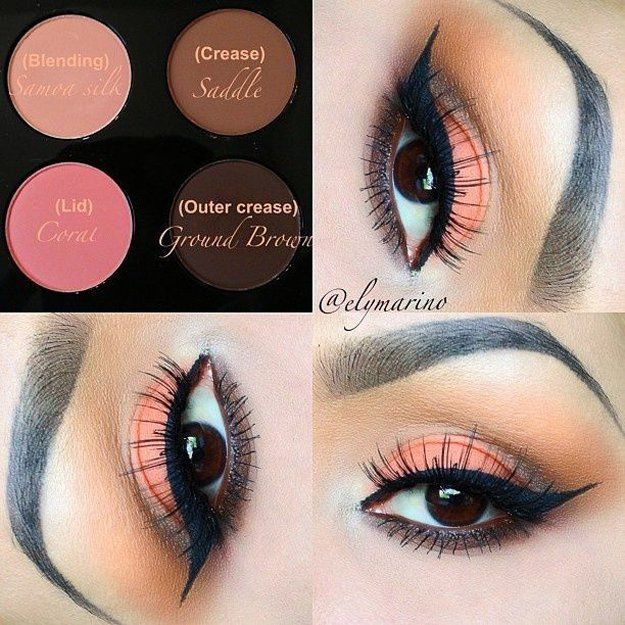 Coral Eyeshadow | Eyeshadow Tutorials for Brown Eyes -  | How To Make Eyes Look Sexy And Dramatic by Makeup Tutorials at http://makeuptutorials.com/12-colorful-eyeshadow-tutorials-brown-eyes/