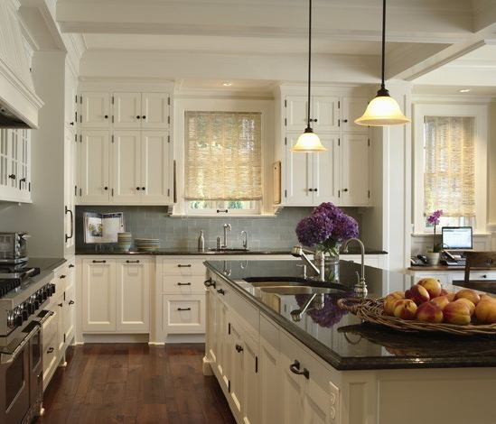 Kitchens With White Cabinets And Wood Floors White Flower Fabric Window Blinds White Lacquered Wood Cabinet Hardware Beige Granite Seamless Counntertops Brown Wooden Kitchen Island