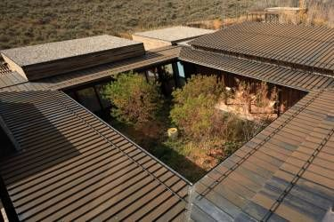 Walden House - Edwards, CO - Exterior photo of central courtyard - Selldorf Architects