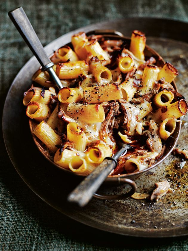 Duck and prosciutto ragu pasta bake