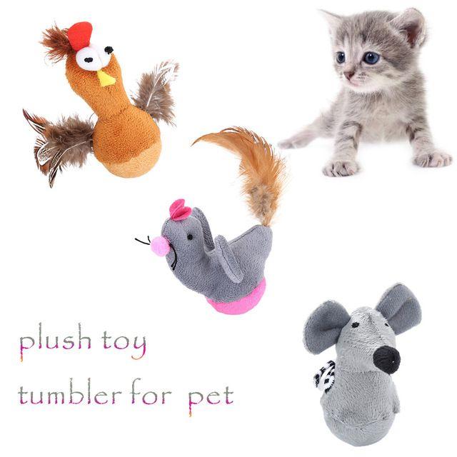 2018 New Pet Cat Dog Toy Plush Tumbler False Animals Cat Toys