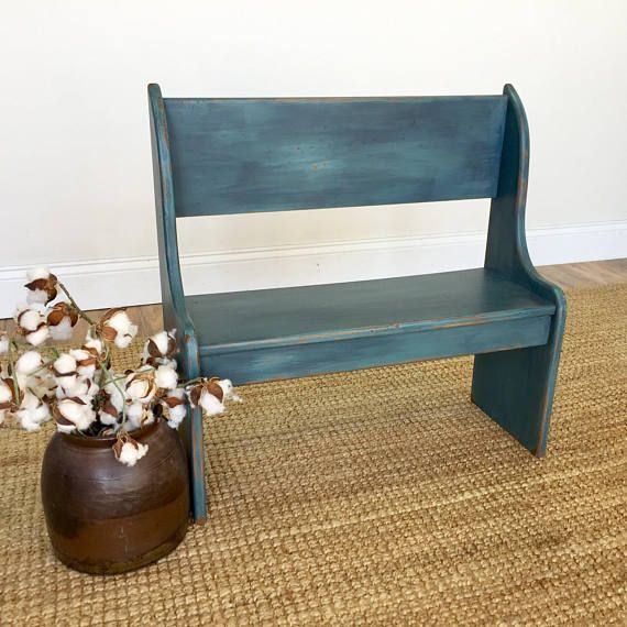 Small Wooden Bench Playroom Furniture Blue Bench Kids Room Furniture Kids Bench Bench With Back Front Porch Decor Toddler Bench In 2020 Small Wooden Bench Porch Furniture Decor