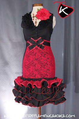 TRAJES DE FLAMENCA KIKA: Falda alta corta Encaje Rojo Mod. DSC2599