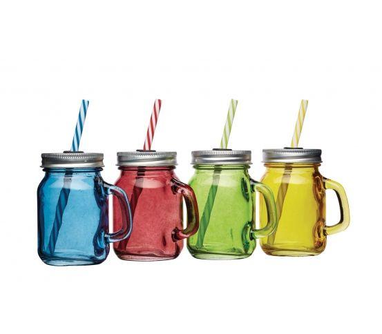Minisłoiczki marki Kitchen Craft doskonale nadają się na przyjęcie w ogrodzie, piknik czy wieczorne spotkanie ze znajomymi. Kubeczki - słoiki przydadzą się do serwowania koktajli, drinków, orzeźwiających soków, a także zdrowych koktajli śniadaniowych. Każdy słoik posiada kolorową słomkę wykonaną z tworzywa sztucznego. Dziurka w pokrywce zawiera uszczelkę, dzięki której latające owady nie wpadną do naczynia. Słoiczki nie są przeznaczone do gorących napojów. Kolorowe naczynia