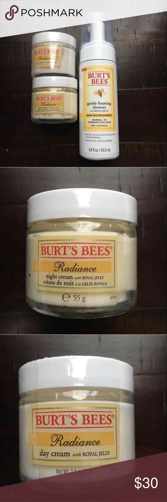 Burt's Bees with royal jelly Burt's Bees lot includes  - Burt's Bees Radiance day cream with royal jelly. Net Wt 2 oz  - Burt's Bees Radiance night cream with royal jelly. Net Wt 2 oz  - Burt's Bees gentle foaming cleanser with royal jelly. Normal to combination skin. 99% natural. Net Wt 4.8 fl oz   All new, sealed bottles No expiration dates NO free shipping Burt's Bees Makeup