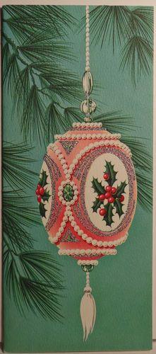 60s Mid Century Modern Glittered Pink Ornament Vintage Christmas Card 1130   eBay