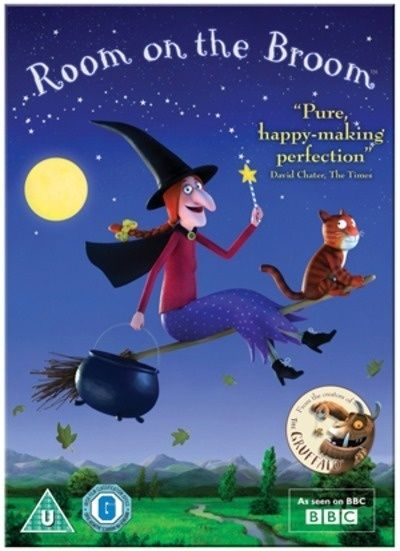Room On The Broom [Region 2 DVD]. Animated film based on the wonderful children's picture book written by Julia Donaldson and illustrated by Axel Scheffler. A kind witch invites a surprising collection of animals to join her on her broom, much to the frustration of her cat. The gang ultimately saves the witch from a fearsome dragon, and in gratitude she rewards them with a magnificent new broom which has room for everyone.