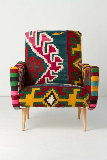 Anthropologie's Berr armchairs are upholstered in kilim fabric from Turkey and no two are alike.