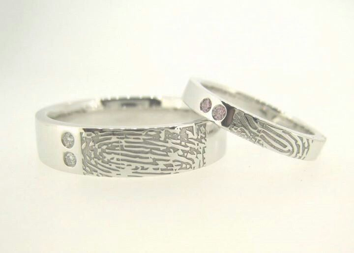 Unique custom made #fingerprint #wedding bands. Shane & Trang searched locally, nationally and almost internationally (!!!) for someone who could make these exact for them. And then they met MDTdesign and lived happily ever after. :)