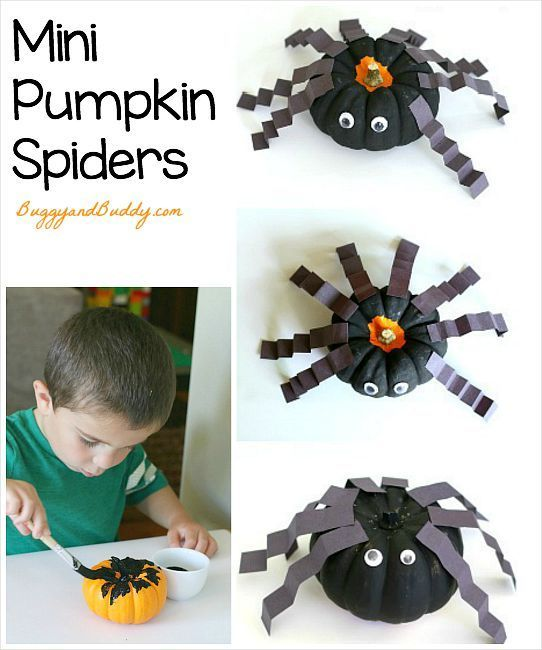 Spider Craft for Kids Using Mini Pumpkins (Great Halloween activity!) ~ BuggyandBuddy.com