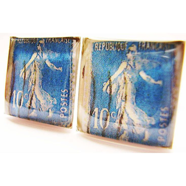 Beautiful silver plated cufflinks with a vintage style French stamp motif sealed in resin.£35