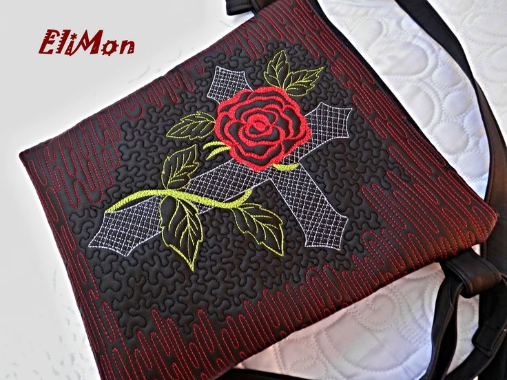 Free motion quilting rossesand cross ....bag for rock women