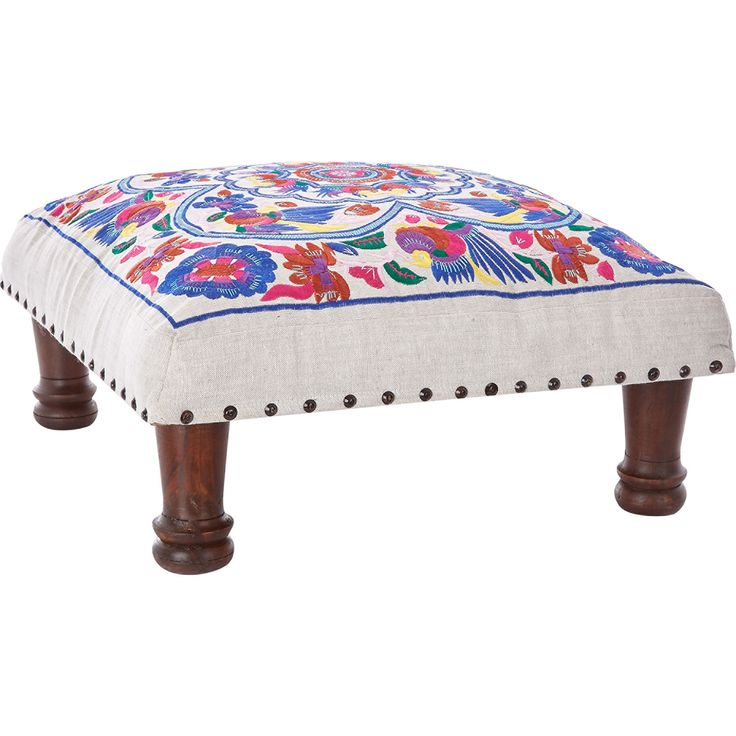Off White Embroidered Foot Stool - TK Maxx