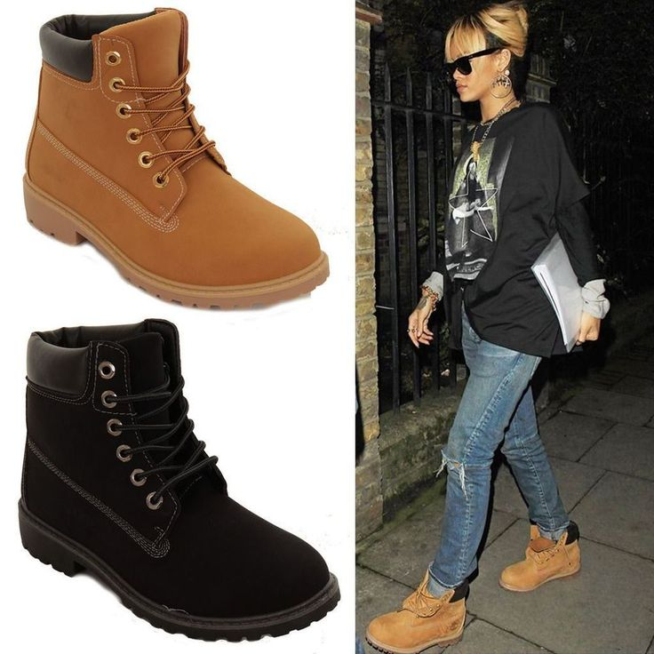 Womens Low Heel Rubber Grip Sole Lace Up Combat Military Casual Work Boots