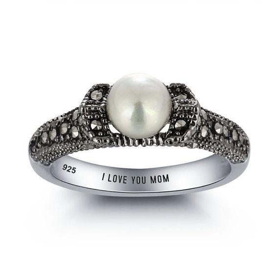Marcasite Ring Pearl Marcasite Ring Marcasite by 1UPStyleStore