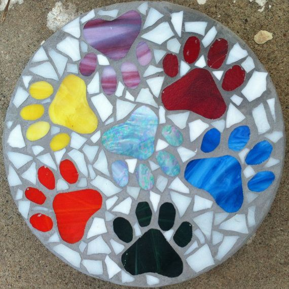 Custom stained glass mosaic stepping stone by MosaicGlassMemorial, $100.00