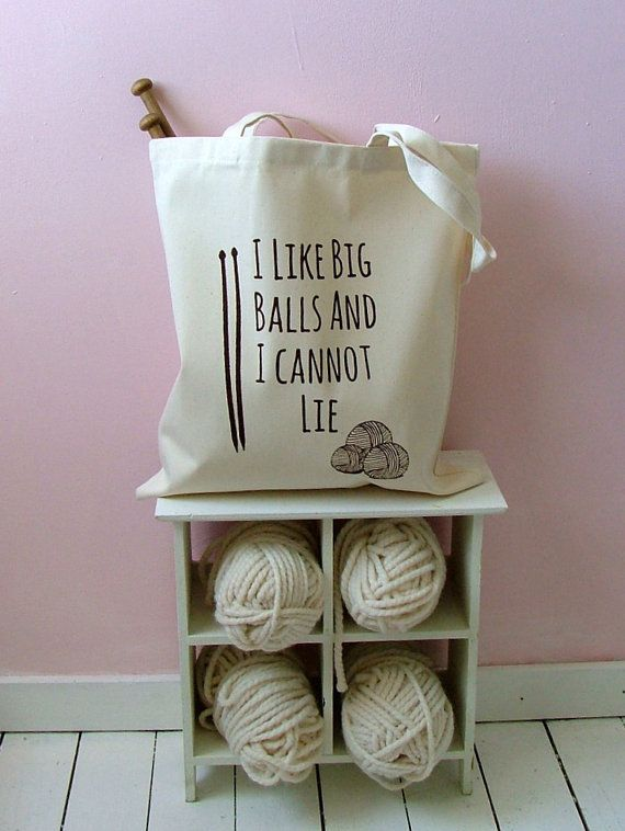 I Like Big Balls Natural Canvas Knitting Bag by KellyConnorDesigns