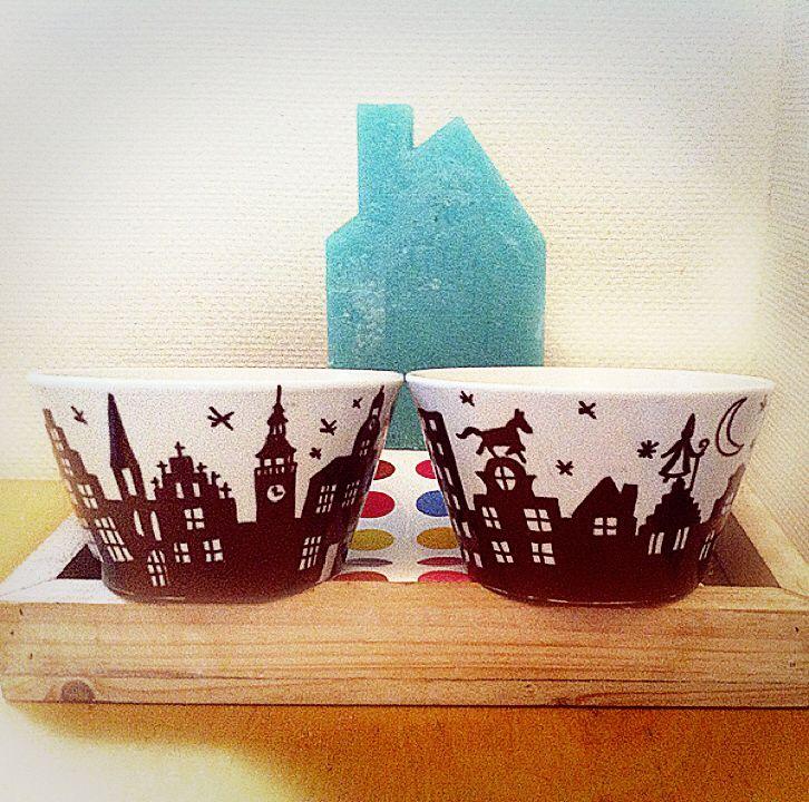 DIY silhouetten van huisjes voor Sinterklaas DIY sihouets of canalhouses